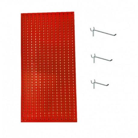 Panou perforat vertical de 500x1000 mm rosu cu set de 25 carlige metalice
